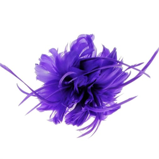 Geneva Feather Fascinator on Band in Purple