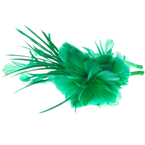 Sydney Feather Flower Fascinator on Band in Jade