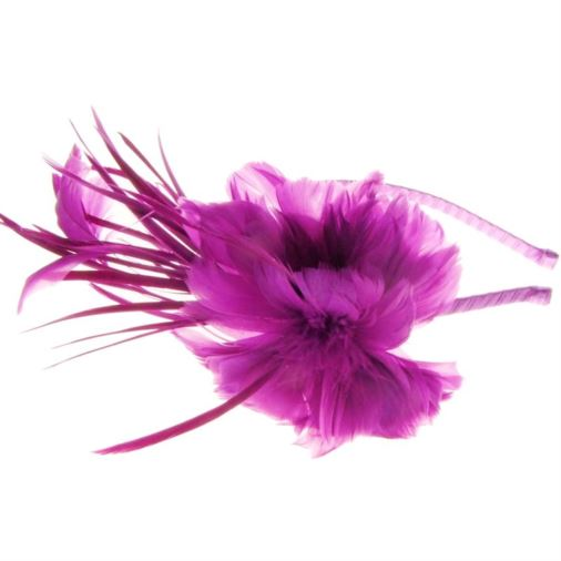 Sydney Feather Flower Fascinator on Band in Plum