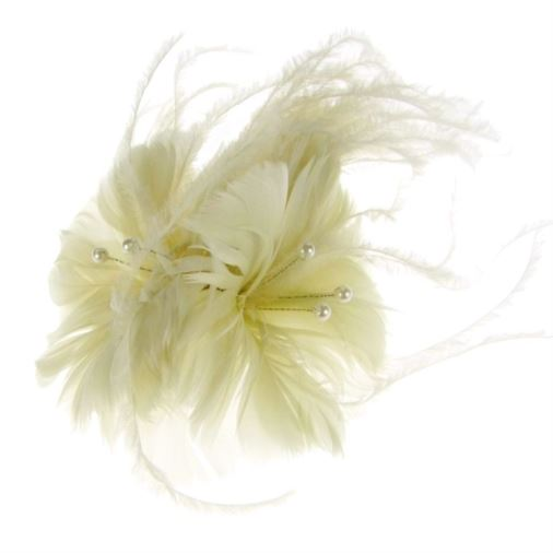 Oslo Feather Fascinator on Comb in Ivory