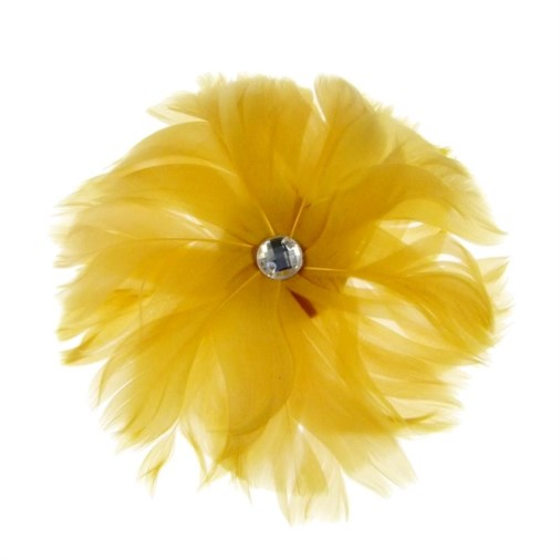 Rio Feather Fascinator on  Clip in Gold