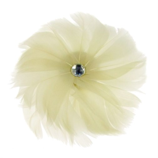 Rio Feather Fascinator on  Clip in Ivory