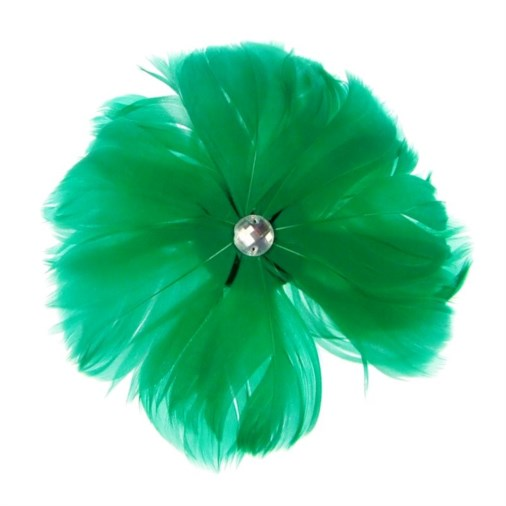 Rio Feather Fascinator on  Clip in Jade