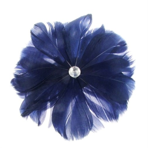 Rio Feather Fascinator on  Clip in Navy