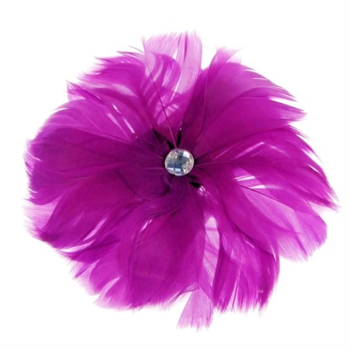 Rio Feather Fascinator on  Clip in Plum