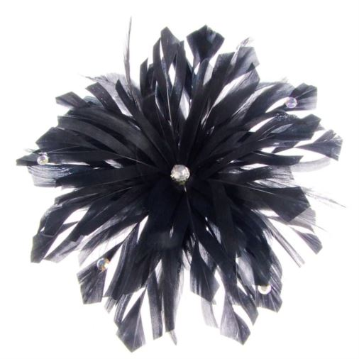 Lima Decorated Feather Fascinator on Comb in Black