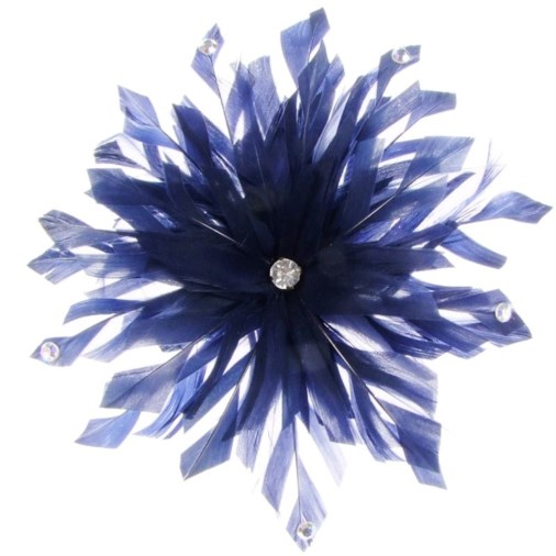 Lima Decorated Feather Fascinator on Comb in Navy