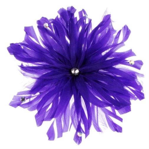 Lima Decorated Feather Fascinator on Comb in Purple