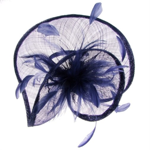 Sofia Sinamay Swirl Fascinator on Band in Navy