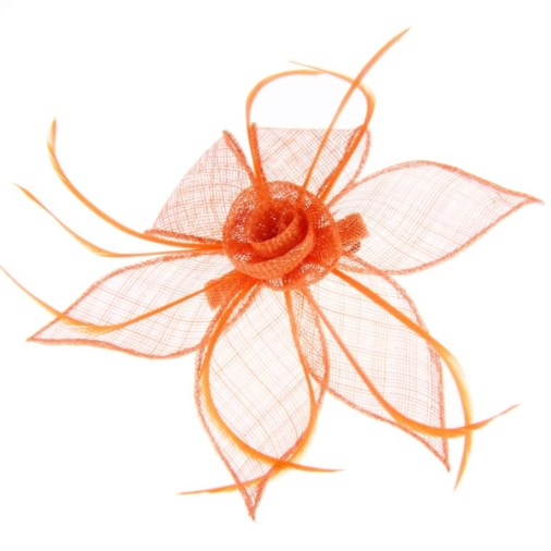 Adelaide Sinamay & Feather Fascinator on Clip Coral
