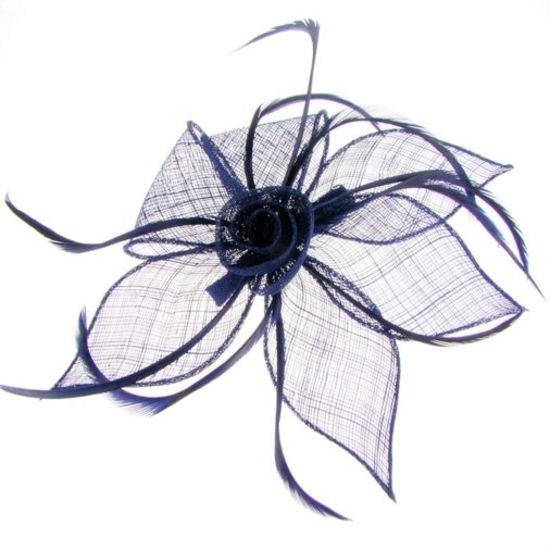 Adelaide Sinamay & Feather Fascinator on Clip Navy
