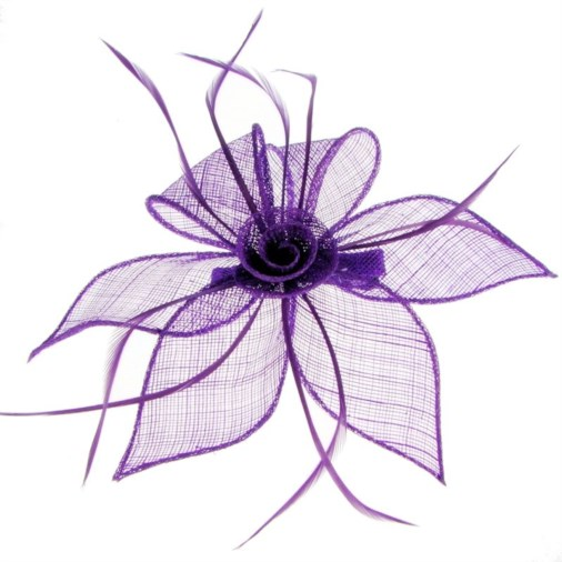 Adelaide Sinamay & Feather Fascinator on Clip Purple