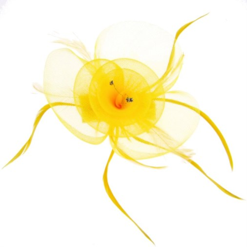 Athens Crin and Feather Clip Fascinator in Yellow