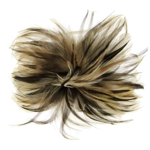 Riga Feather Fascinator on Band in Coffee/Cream
