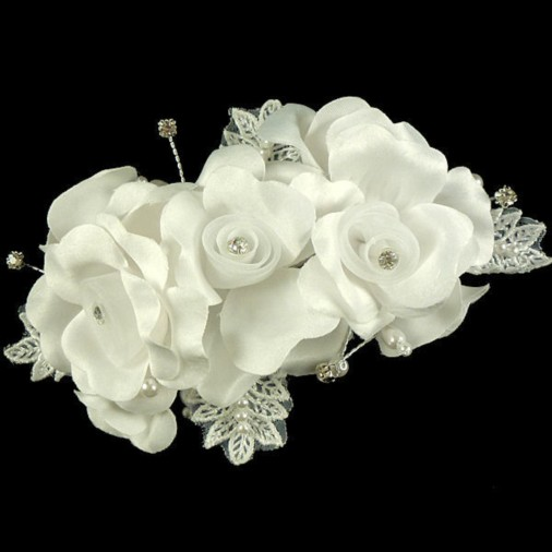 Lucinda Wedding Hair Flower on Clip in White