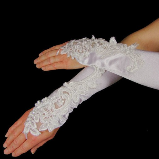 Antoinette Satin Wedding Gloves