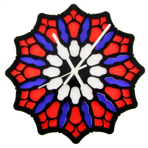 Euphyllia-Tempus Stained Glass Rose Wall Clock Red/Blue/White