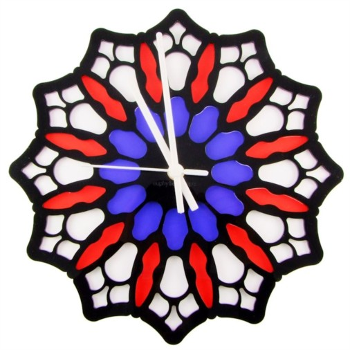 Euphyllia-Tempus Stained Glass Rose Wall Clock White/Red/Blue