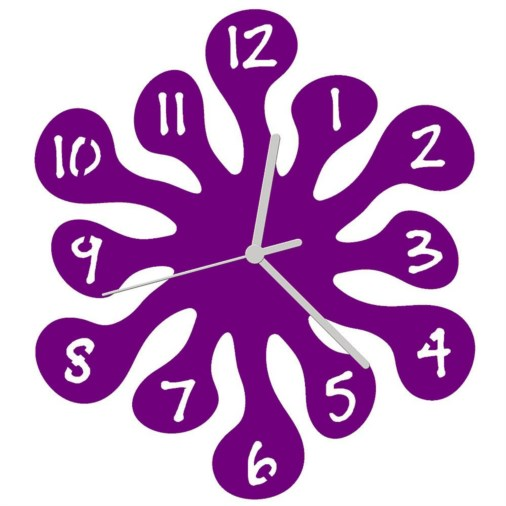 Euphyllia-Splash Childrens Wall Clock 25cm Purple