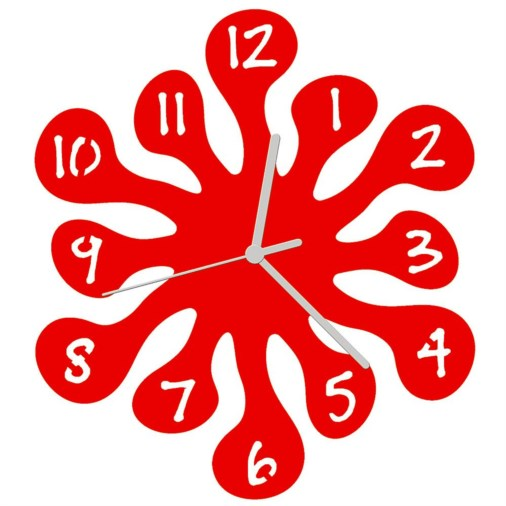 Euphyllia-Splash Childrens Wall Clock 25cm Red