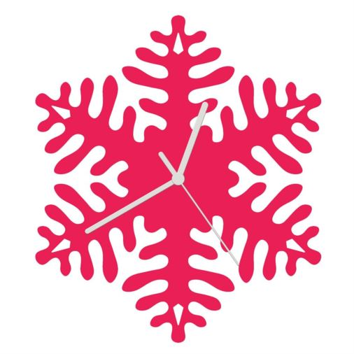 Euphyllia-Snowflake Childrens Wall Clock in Fuchsia Pink