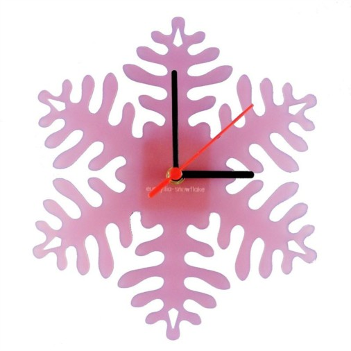 Euphyllia-Snowflake Childrens Wall Clock in Frosted Pink