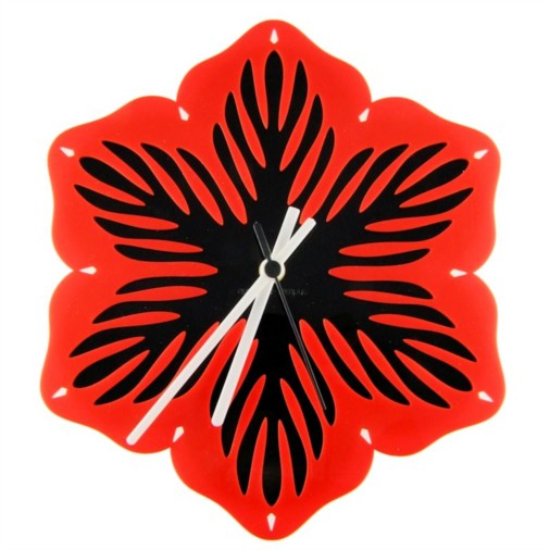 Euphyllia-Firestorm Flower Wall Clock 28cm Red