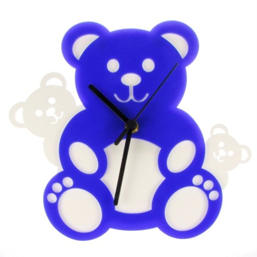 Euphyllia-Tempus Three Teddy Bears Wall Clock Blue/White