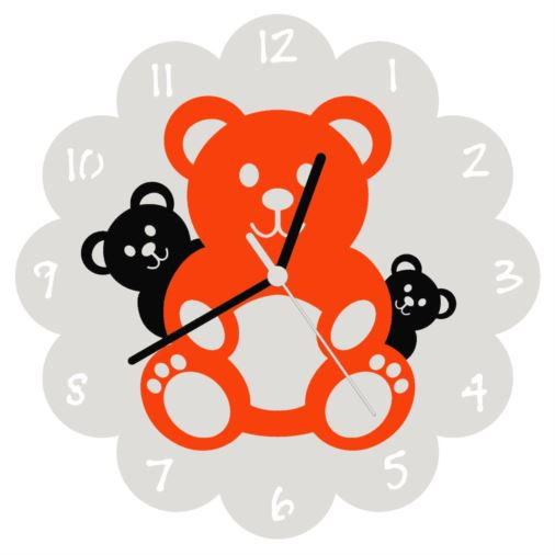 Euphyllia-Tempus Three Teddy Bears Wall Clock Orange/Black