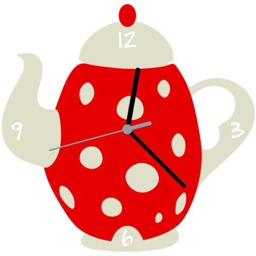 Euphyllia-Tempus Tea Pot Kitchen Wall Clock Red/White