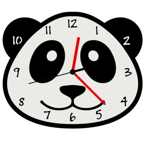 Euphyllia-Tempus Panda Childrens Wall Clock