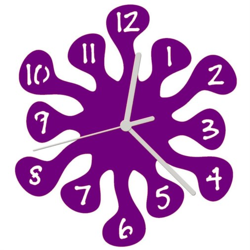 Euphyllia-Splash Mini Childrens Wall Clock 20cm Purple