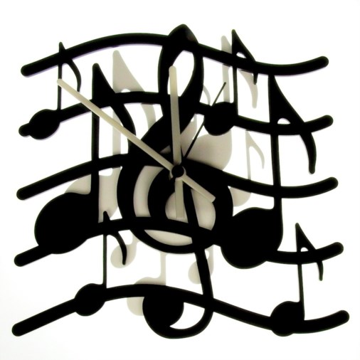 Euphyllia-Music Stave Wall Clock 25cm Black