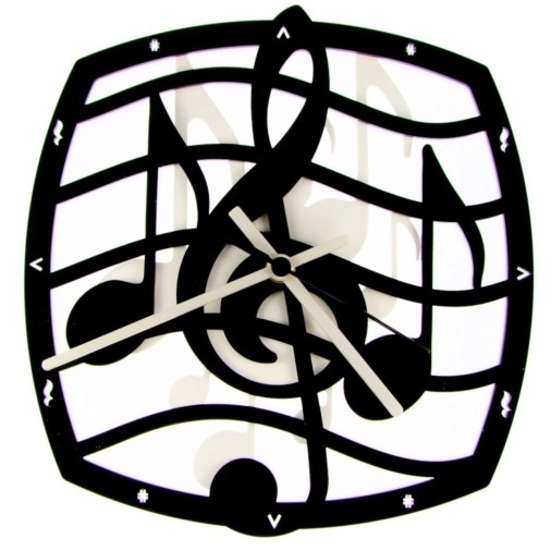 Euphyllia-Music Curved Music Theme Wall Clock 25cm Black