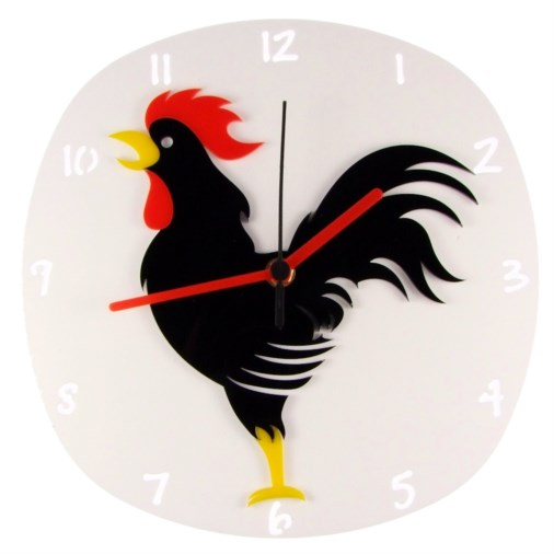 Euphyllia-Tempus Black Rooster Wall Clock