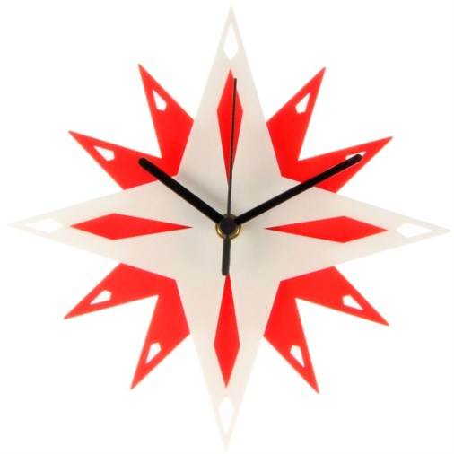 Euphyllia-Tempus Star Wall Clock 24cm White/Red