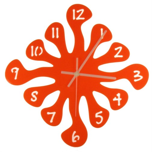 Euphyllia-Splash Large Wall Clock 32cm Orange