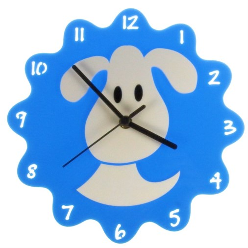 Euphyllia-Tempus Childrens Dog Clock 25cm in Blue
