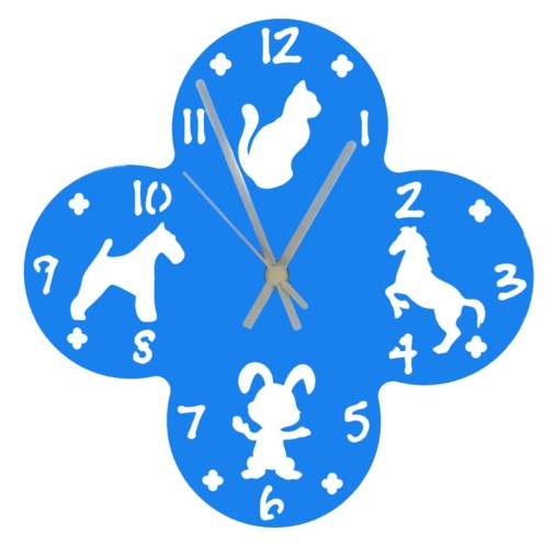 Euphyllia-Tempus Large Animal Childrens Wall Clock Blue 30cm