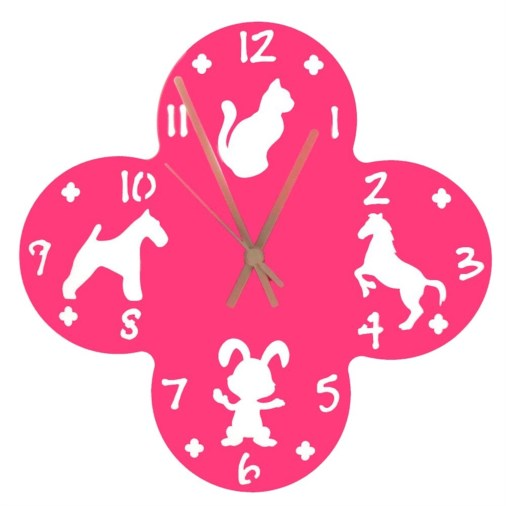 Euphyllia-Tempus Large Animal Childrens Wall Clock Fuchsia Pink 30cm