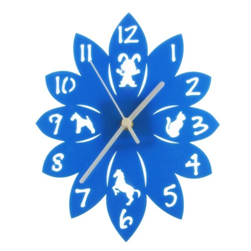 Euphyllia-Tempus Animal Childrens Wall Clock Blue 25cm