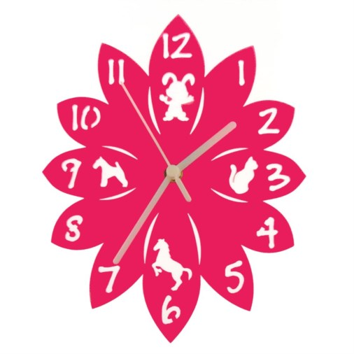 Euphyllia-Tempus Animal Childrens Wall Clock Fuchsia Pink 25cm