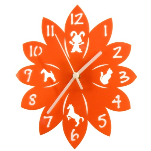 Euphyllia-Tempus Animal Childrens Wall Clock Orange 25cm