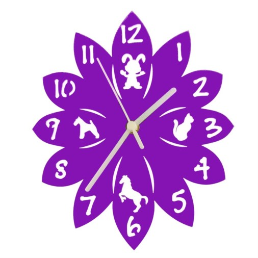 Euphyllia-Tempus Animal Childrens Wall Clock Purple 25cm