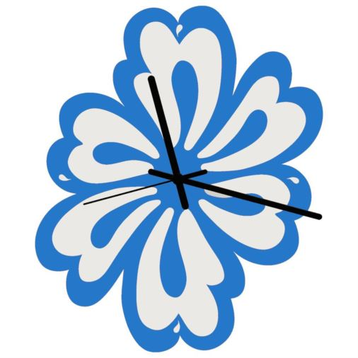 Euphyllia-Tempus Flower Wall Clock Blue/White 28cm