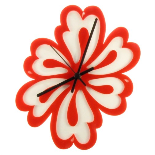 Euphyllia-Tempus Flower Wall Clock Red/White 28cm