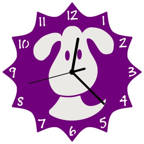 Euphyllia-Tempus Childrens Dog Clock 25cm in Purple