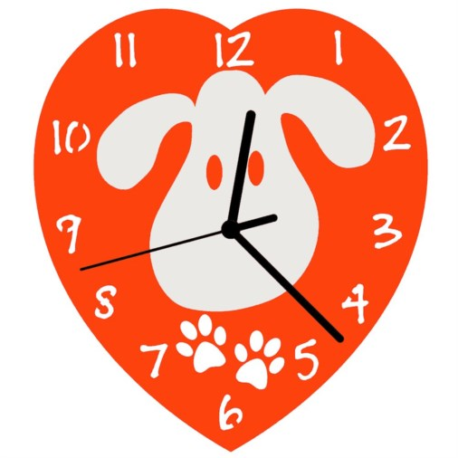 Euphyllia-Tempus Childrens Love My Dog Wall Clock 23cm Orange