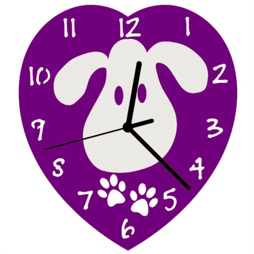Euphyllia-Tempus Childrens Love My Dog Wall Clock 23cm Purple