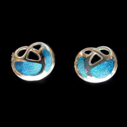 Sterling Silver Archibald Knox Earrings Turquoise Enamel